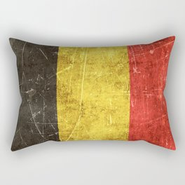 Vintage Aged and Scratched Belgian Flag Rectangular Pillow