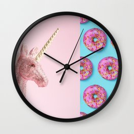 Pastel Pink and Blue/Vintage Rotary Dial Telephone/Retro Car/Sparkly Unicorn/Colorful Donuts Wall Clock