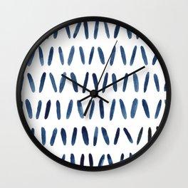 Strokes Pattern | Indigo Watercolor Painting Wall Clock