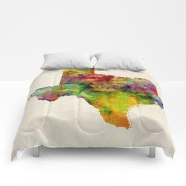 Texas Watercolor Map Comforters