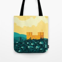 golden Tote Bags featuring Golden castle by Roland Banrevi