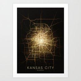 kansas city Missouri usa night light map Art Print