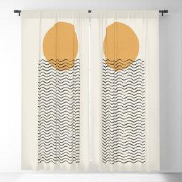 Ocean wave gold sunrise - mid century style Blackout Curtain