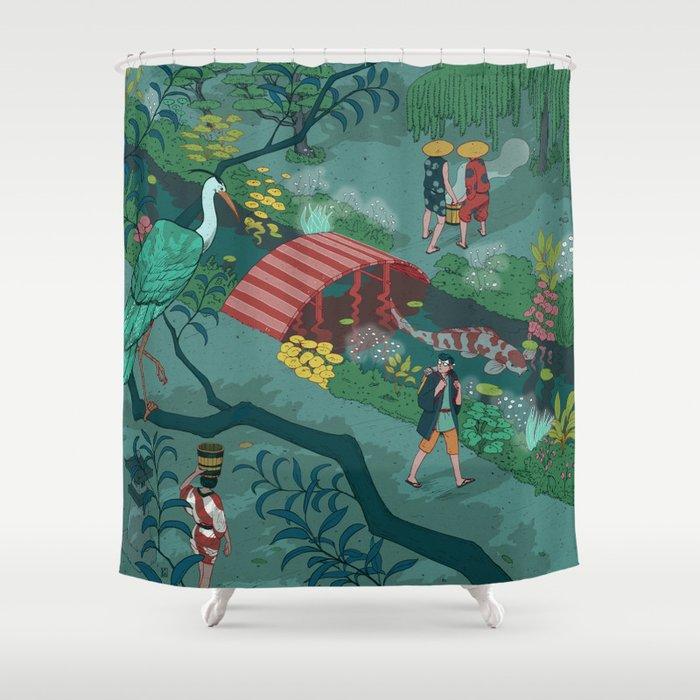 Ukiyo-e tale: The beginning of the trip Shower Curtain