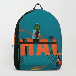 Surfing Hawaii - Jet Clippers to Hawaii Vintage Travel Poster Backpack