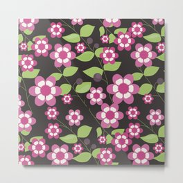 Graphic flowers: Britannia Flowers (black, pink and green) Metal Print