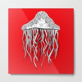red jelly square Metal Print