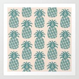 Retro Mid Century Modern Pineapple Pattern Teal and Beige Art Print