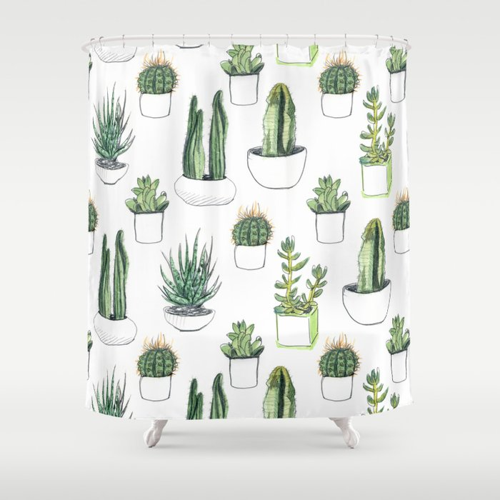 watercolour cacti and succulent Shower Curtain