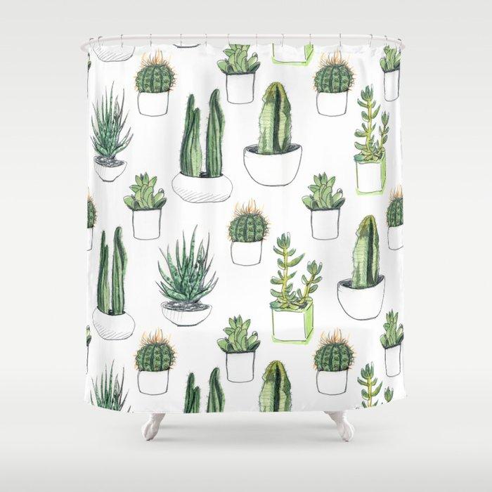 Watercolour Cacti & Succulents Shower Curtain