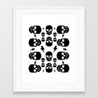 skulls Framed Art Prints featuring skullS by HEADBANGPARTY
