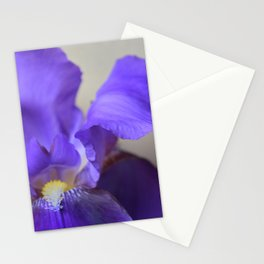 Purple Iris Grey Stationery Cards