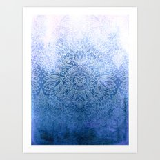 Enchanted Indigo - watercolor + doodle Art Print