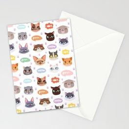 Multicolor Cat Lover Kitty Speak Stationery Cards