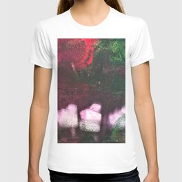 What's In The Forest? Forest, Abstract, Painting, Jodilynpaintings. Red, Green. T-shirt