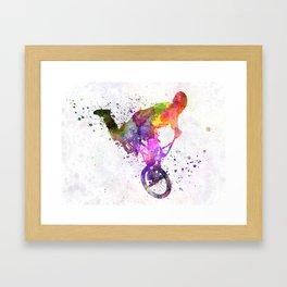 man exercising bmx acrobatic figure Framed Art Print