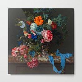 "Willem van Aelst ""Flower Still Life with a Timepiece"" Metal Print"