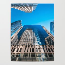 Looking up from George street at major City Towers in Sydney Poster