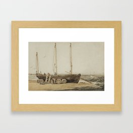 Samuel Prout English 1783 - 1852 Beached Fishing Boat Framed Art Print