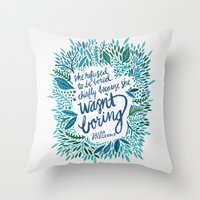 fitzgerald Throw Pillows featuring Zelda Fitzgerald – Blue on White by Cat Coquillette