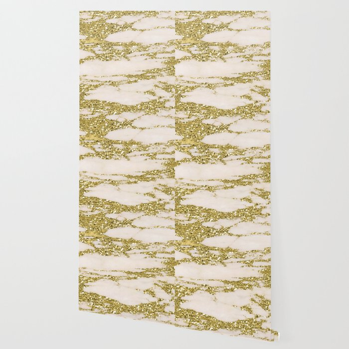 Marble Gold Glittery Light Pink And Yellow Wallpaper