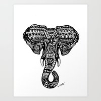 Aztec Elephant Head Art Print