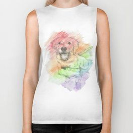 Golden Retriever Puppy Drawing Biker Tank