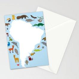 South America sloth anteater toucan lama armadillo manatee monkey dolphin Maned wolf raccoon jaguar Stationery Cards