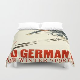 Vintage Poster To Germany for Winter Sports Duvet Cover