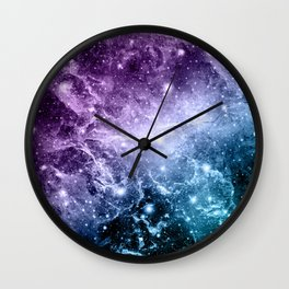 Purple Teal Galaxy Nebula Dream #4 #decor #art #society6 Wall Clock