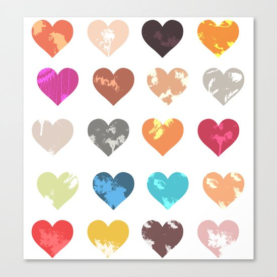 Colorful love pattern Canvas Print
