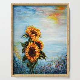 Sunflowers! Where Ocean meets Sky Serving Tray