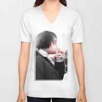 smoking V-neck T-shirts featuring Smoking by Michael Larkin