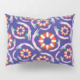 Summer Swimmers in Pink on Navy | Floats | Life Savers | pulps of wood Pillow Sham