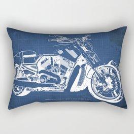 Blue motorcycle blueprint, HD VRSCF V-Rod Muscle,white line,home decor,man office, man cave decor Rectangular Pillow
