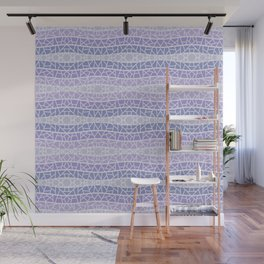 Mosaic Wavy Stripes in Lavenders and Lilacs Wall Mural