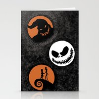 nightmare before christmas Stationery Cards featuring Nightmare Before Christmas by Linda V.