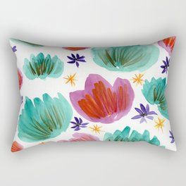 Teal and Pink Watercolor Pattern Rectangular Pillow