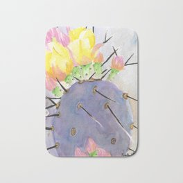 Watercolor Cute Purple Cactus With Flowers Bath Mat