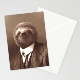 Gentleman Sloth in Sepia Tone Stationery Cards