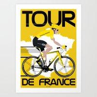tour de france Art Prints featuring Tour De France by Wyatt Design