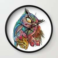 gemma correll Wall Clocks featuring Zombie Owl by Gemma Pallat by ToraSumi