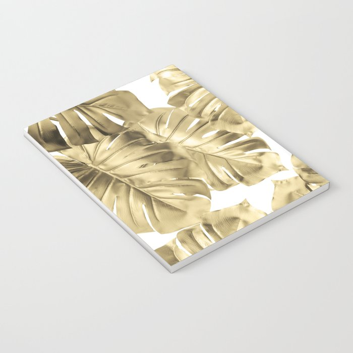 Gold Monstera Leaves on White 2 Notebook