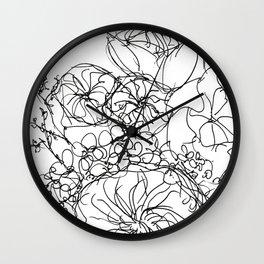 Peony - Black and White Wall Clock