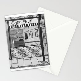 London Coffee Shop in Black and White Stationery Cards