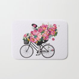 floral bicycle Bath Mat