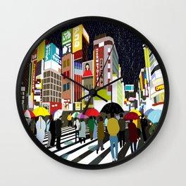 Umbrellas in Tokyo Rain Wall Clock