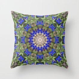 Peacock colors botanical kaleidoscope, mandala - Anagallis, Blue pimpernel flowers Throw Pillow