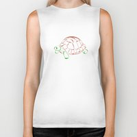 turtle Biker Tanks featuring turtle by Aata