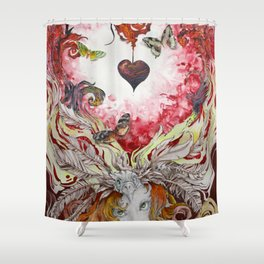 Lava Heart Shower Curtain